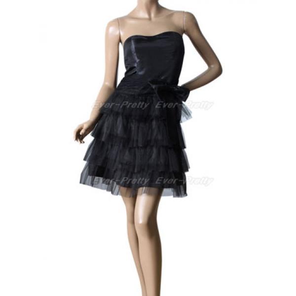 Evening black mini dress strapless. Артикул: IXI16070