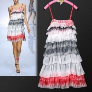 SALE! Elegant colorful tiered evening dress
