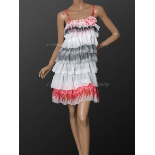 Elegant colorful tiered evening dress. Артикул: IXI16086