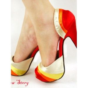 SALE! Bright but delicate shoes, stylish, on a high platform with a graceful stiletto heel