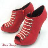 РАСПРОДАЖА! Ярко-красные ботильоны на декоративной шнуровке на устойчивом каблуке цена фото