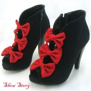 SALE! Black, fabric, trendy ankle boots with 3 festive red bow