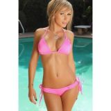 Розовый элегантный купальник на завязках