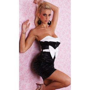 Гламурное мини-платье с белым бантом - Платья