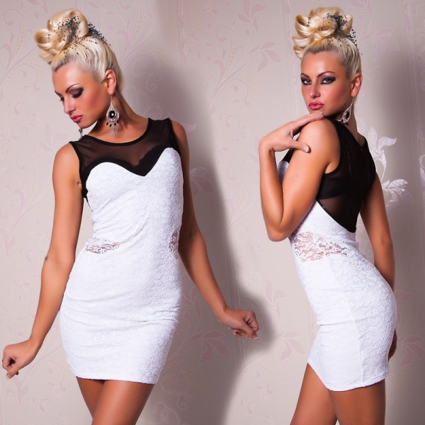 Black and white mini dress with black fishnet insertion. Артикул: IXI16174