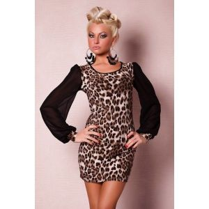 Fashionable leopard print mini dress
