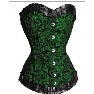 There is an elegant green corset with lace
