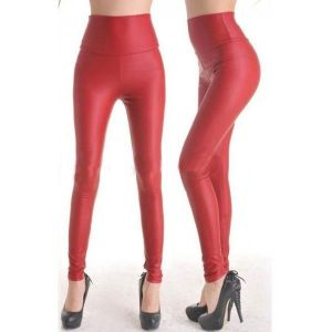 Red vinyl leggings