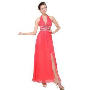 РАСПРОДАЖА! Длинное платье с V-образным вырезом розовое - Вечерние платья