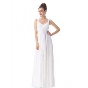 РАСПРОДАЖА! Вечернее длинное платье на бретельках белое - Вечерние платья