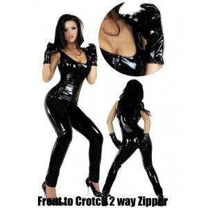 Vinyl black suit with gloves