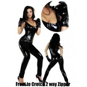 Виниловый черный костюм с перчатками