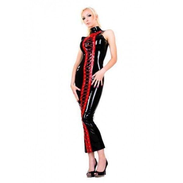 Виниловое черное платье