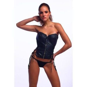 Sexy vinyl corset with zip