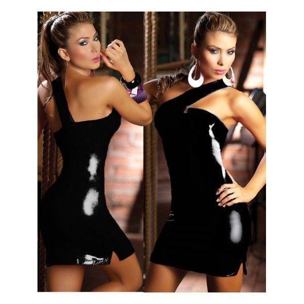 Виниловое мини-платье облегающее