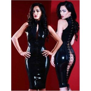 Long black vinyl bodycon dress. Артикул: IXI16472