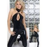 Black vinyl jumpsuit