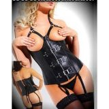 Leather corset with skin-Baring cutouts