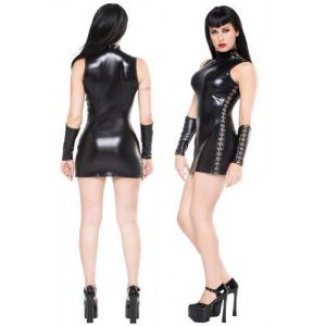 SALE! Vinyl mini dress in black