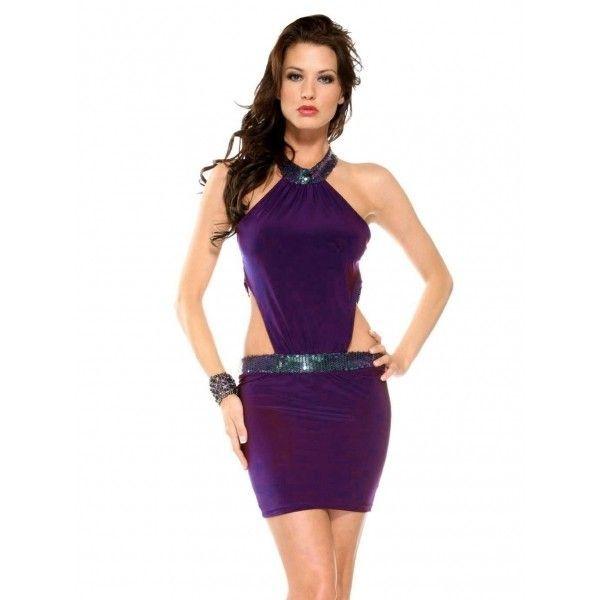 Сиреневое клубное платье