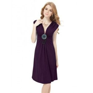 Decorative evening dress with a graceful V-neck