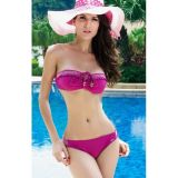 Glamorous pink swimsuit with a bodice bandeau