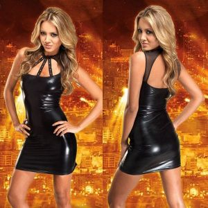 Black leather dress. Артикул: IXI17668