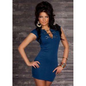 Синие мини платье с заклепками