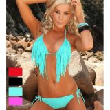 Turquoise swimsuit with fringe with a Cup