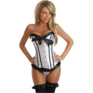 White women corset pattern in black polka dot