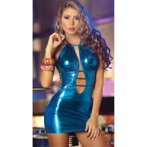 Голубое мини платье с выризами - Одежда (латекс, винил)
