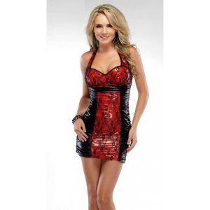 РАСПРОДАЖА! Черно-красное виниловое мини платье