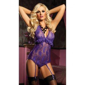 Фиолетовый комбидрес с подвязками