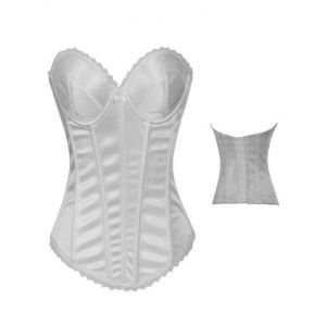 White classic corset with lace trim