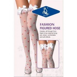 Translucent stockings with hearts