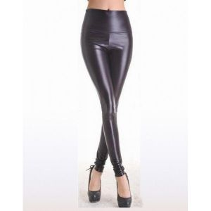 Vinyl leggings with high waist