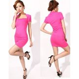 Pink mini dress with covered shoulders.