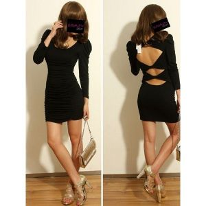 Black mini dress with slits on the back.