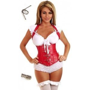 Corset red with zipper