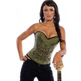 Green corset with fashion stash.
