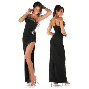 Черное платье на одной бретельке