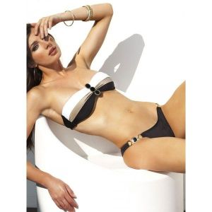 Luxury swimsuit with detailing with black stones.