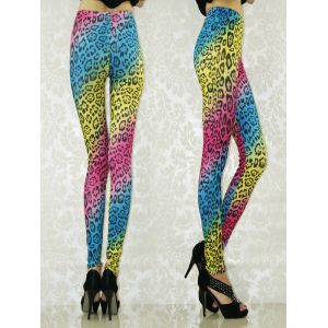 Stylish colorful leggings with leopard print.