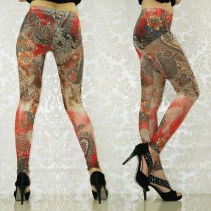 Red leggings with floral print.. Артикул: IXI19255