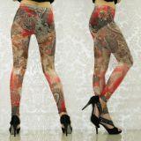 Красные леггинсы с цветочным принтом. цена фото