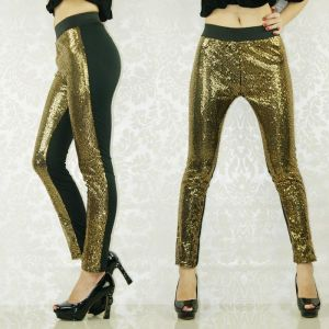 Golden leggings.