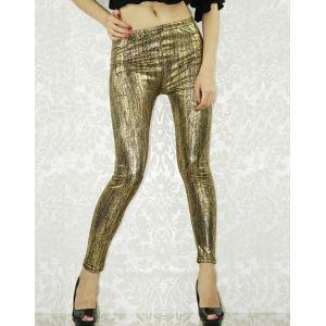 Stylish gold leggings.