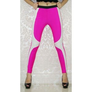 SALE! Pink leggings with white inserts. Артикул: IXI19302