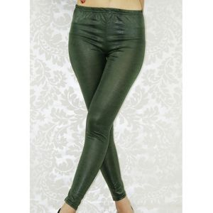 Green elasticated leggings.