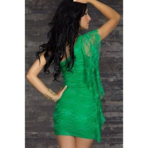 Green lace dress one shoulder